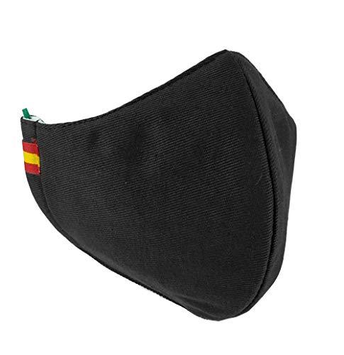 Piel Cabrera Mascarilla Lavable Reutilizable Negra