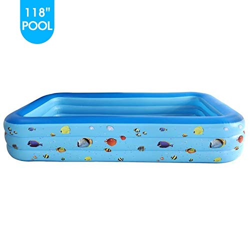 Bestrip Swimming Inflatable Pool Above Ground Rectangular Pools Summer Water Party Gift for Toddler Kids Adults Family Outdoor Backyard Garden