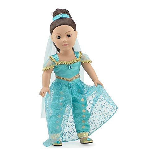 Emily Rose 18 Inch Doll Stunning 4 Piece Jeweled Doll Princess Jasmine-Inspired Outfit, Including Shoes!   Fits 18' American Girl and My Life As Dolls