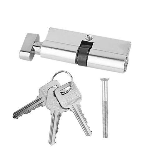 Bombin Cerradura, Cilindros Para Puertas Cilindro de la puerta de la puerta del metal de aluminio de 70 mm Cilindro de seguridad para el hogar Anti- Taladro anti- taladro con 3 teclas Silver Set Tool