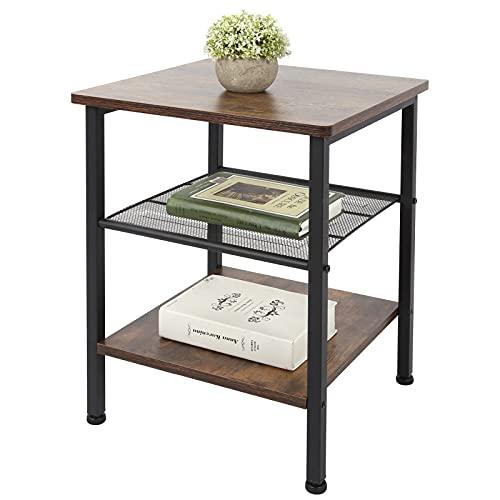 Dioche Mesa de té para teléfono, mesa de noche, rústica, lateral, para oficina, pasillo, sala de estar, 39,8 x 39,8 x 50 cm