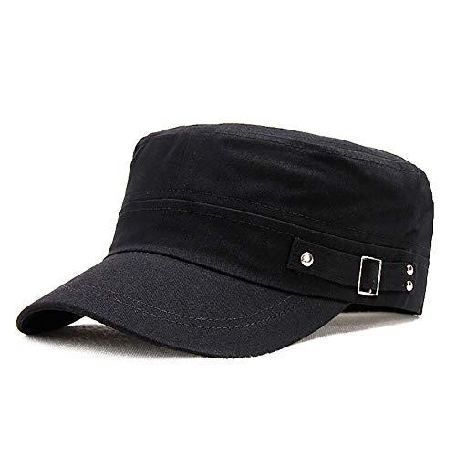 Adantico Gorras de Hombre Mujer Plana Gorras de Béisbol Algodón Sombrero Gorras de Militar Plana (Negro)