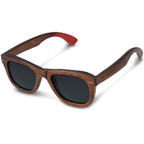 Navaris Holz Sonnenbrille UV400 - Damen Herren Brille unisex - polarisierte Holzbrille aus Skateboard Holz - Holzoptik unterschiedliche Farben