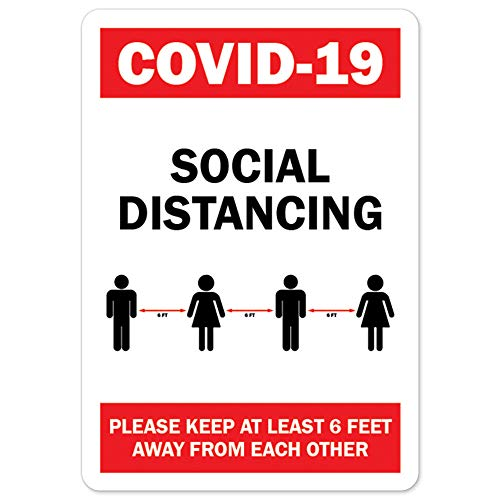 COVID-19 Notice Sign - COVID-19 Social Distancing Please Keep 6 Feet Away | Vinyl Decal | Protect Your Business, Municipality, Home & Colleagues | Made in The USA