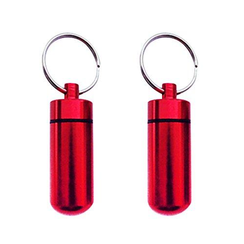 yotijar Colgante Impermeable de La Caja de La Cápsula de 2 Piezas para La Pulsera Del Collar - rojo
