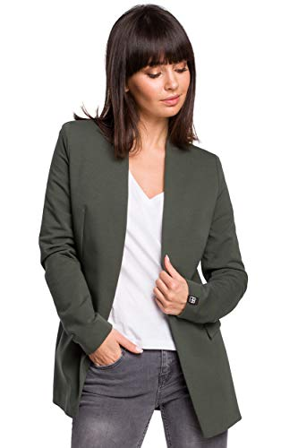 Cotton-Blend Open Blazer in Militair Groen
