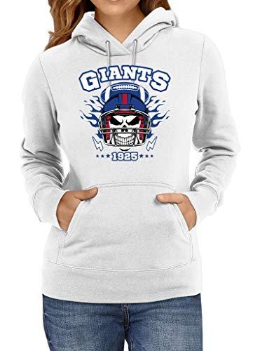 Shirt Happenz Giants American Football Skull 1925 New York New York Hoodie Frauen Kapuzenpullover, Größe:L, Farbe:Weiß