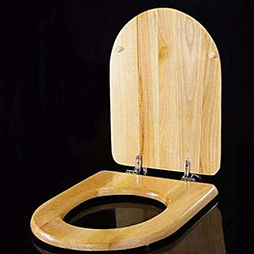 Cylficl. WC-Sitz U/V/O-Form-Massivholz Toilettendeckel mit Nicht Slow Down Bottom Fester Toilettensitzabdeckung for Familie