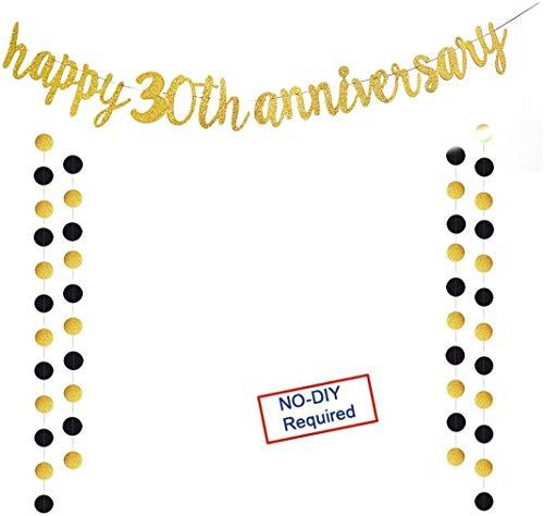 Deneo - Cartel dorado con purpurina para 30 aniversario, 30 aniversario para fiesta de 30 cumpleaños, fiesta de aniversario de boda, decoración de foto