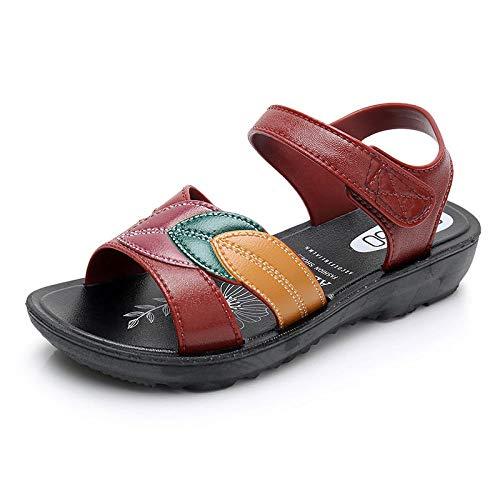 Rote Sommer Mutter Sandalen Weibliche Weiche Unterseite Flache Schuhe Mittleren Alters Und Alte Frauen Schuhe Große Ältere Sandalen Rutschfeste Schwangere Frauen Schuhe