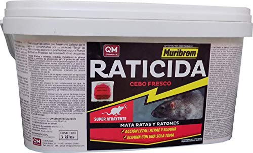 Muribrom Quimunsa Raticida Cebo Fresco 3kg Veneno Ratones, Ratas y roedores
