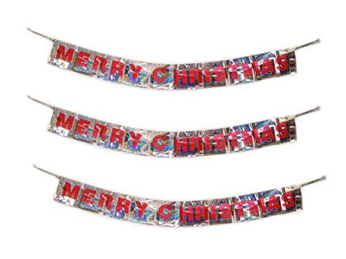 HomestreetUK vrolijke kerstfolie pony opknoping decoratie, pak van 3, goud of zilver Banner Xmas Bunting 1,2 m