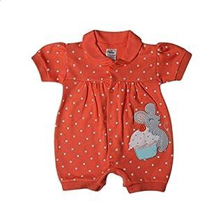 Papillon Polka-Dot Print Short Sleeves Romper for Girls - Orange, 3-6 Months