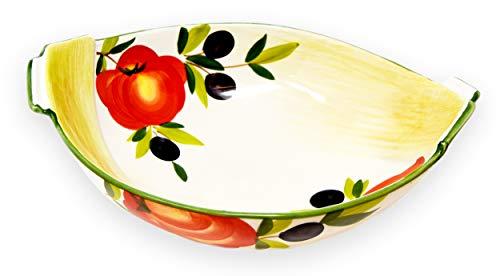 Lashuma Runde Keramikschale, Salatschüssel Bemalt Tomaten - Oliven, Keramikschüssel Mediterrane Größe 27 x 21 cm
