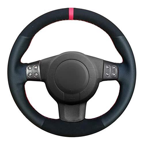 MDHANBK Cubierta de Volante de Coche de Cuero Negro Cosida a Mano DIY, para Seat Leon (Mk2) 2006-2008 Ibiza (6L) 2007 Accesorios de Volante de Coche