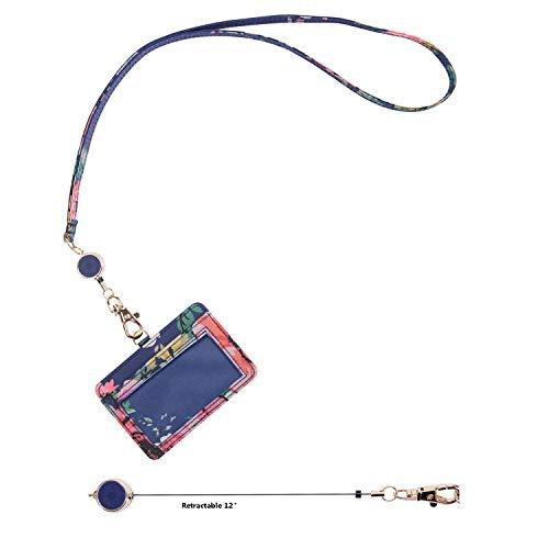 Wonderful Flower ID Badge Holder with Retractable Lanyard, Horizontal Name Badge Card Holder with Retractable Reel and Detachable Neck Lanyard (21H Navy Coral)