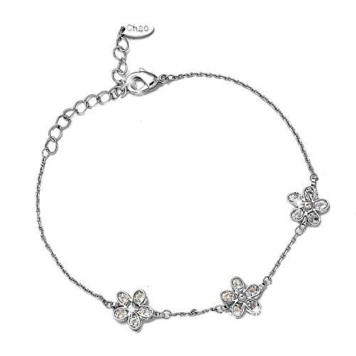 Beloved  Bracciale da donna con cristalli - linea Jasmine - con charms e ciondoli - lunghezza regolabile - braccialetto placcato argento