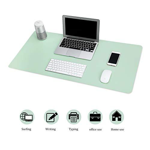 BUBM Multifunktionales Office Mauspad, 80 x 40 cm wasserdichte Schreibtischunterlage aus PU-Leder, Ultradünnes Mousepad zweiseitig nutzbar, ideal für Büro und Zuhause (Grün)