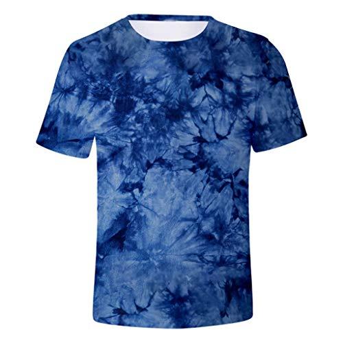 Crazboy 2020 Neu Herren Sommer Mode Tie-Dye T-Shirt Komisch 3D-Spiraldruck Kurzarm Hemd Tops(Small,Blau-G)