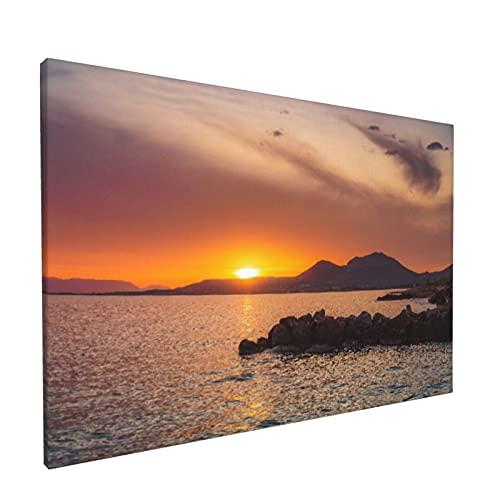PATINISA Cuadro en Lienzo,Increíble puesta de sol en el puerto deportivo de la ciudad de Neapoli en Peloponeso,Grecia,Impresión Artística Imagen Gráfica Decoracion de Pared