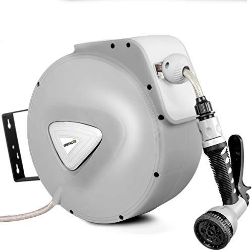 GREENCUT MNG200 - Manguera de agua de 20m con enrollador automatico, soporte de pared y presion de trabajo 8bars