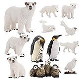 TOYANDONA Juego de Figuras de Animales Marinos del Círculo Ártico de 12 Piezas Modelos de Aprendizaje de Animales Salvajes de Plástico Que Incluyen Figuras de Osos Polares Pingüinos Y