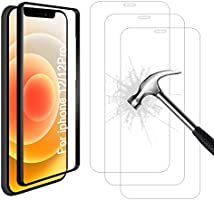 AhaSky - 3 Pack Tempered Glass for iPhone 12 Pro / iPhone 12 Screen Protector, Align Frame, Easy Bubble-Free...