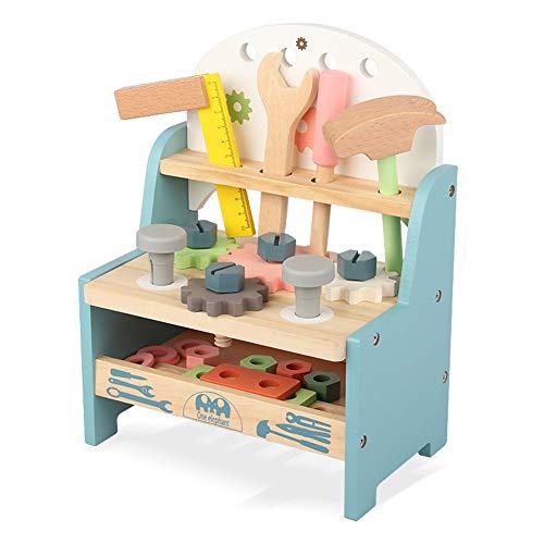 BAYKIM Wooden Workbench Toys Tool Kit Bench Workshop Pretend Play Set Education Engineer Gift for Kids Toddlers Boys Girls (Regular Medium Size)