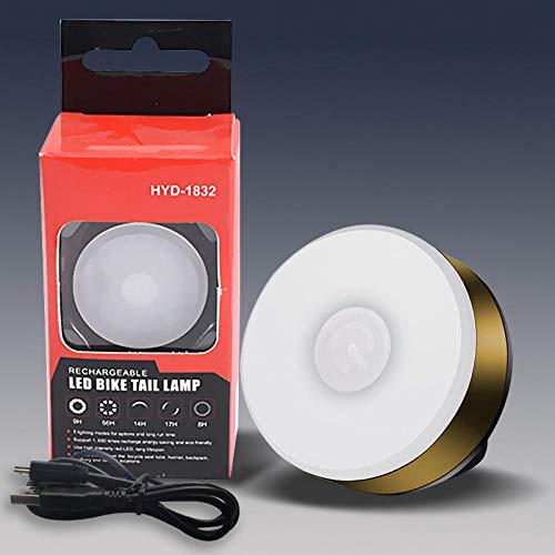 GKKYU Luz Trasera de Bicicleta, luz Trasera LED Deportiva con Carga USB, luz Trasera de Bicicleta Impermeable, Mochila para Casco Luz LED luz estroboscópica de Advertencia de Seguridad-Dorado