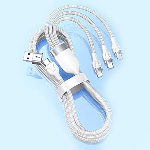 AEU 3 en 1 Multi Cable de Carga PD 20W/QC 18W, 1.2CM Nylon Multi USB Cargador Cable Múltiples Micro USB Tipo C para Varios Smartphones Tabletas,Blanco