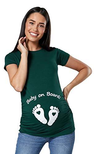 Zeta Ville - Camiseta Divertido para Embarazadas de Bebé pies - para Mujer 199c (Verde Oscuro, 44-46, 3XL)