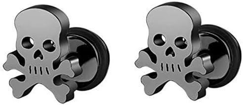 Stainless Steel Gothic Skull Bone Skeleton Biker Cocktail Party Halloween Stud Earrings Black product image
