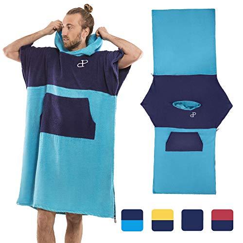 Mit Kapuze Surf Poncho Cabrio in Strandtuch mit Tasche und Ärmeln, Baumwolle, Wickelkleid für Erwachsene, Super saugfähig, Handtuch-Hoodie-Reißverschluss, Herren und Damen, Wassersport, hellblau