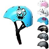 SkullCap® Enfants Skateboard & BMX Casque De Vélo -Dde 5 à 13 Ans - Taille S, Conception: Monster Blue, Taille: S
