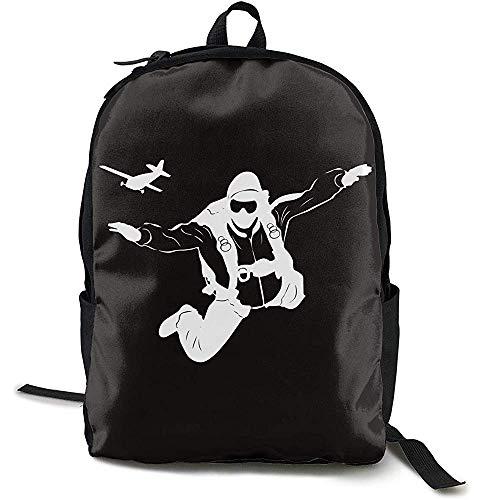 Kimi-Shop Fallschirm Silhouette Fallschirmspringen Erwachsene Herren & Damen Unisex Travel Fashion Style Rucksack