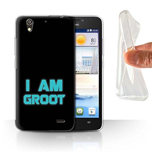 Hülle Für Huawei Ascend G630 Comic Wächter Inspiriert Retro I Am Groot Design Transparent Dünn Flexibel Silikon Gel/TPU Schutz Handyhülle Case
