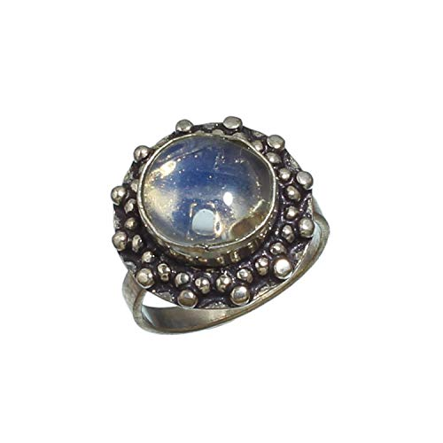 Jewelry Plaza Beautiful White Milky Opal Ring -925 Silver Plated Handmade Gemstone Jewelry-Statement Ring-! Ring Size - (US)- 7.25 (SF-677)…
