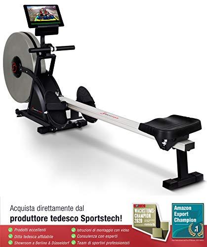 Sportstech 2in1 Profi Rudergerät mit 16 fachem Luft- und Magnetbremssystem, Smartphone App, 4 Puls- und 12 Trainings-Programme, RSX600, Wettkampfmodus, klappbar, inklusive hochwertigem Pulsgurt Bild 4*