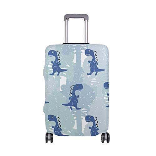Dino Blue Color Boy Travel Luggage Cover DIY Prints Protector Suitcase Baggage Fits 18-21 Inch Luggage