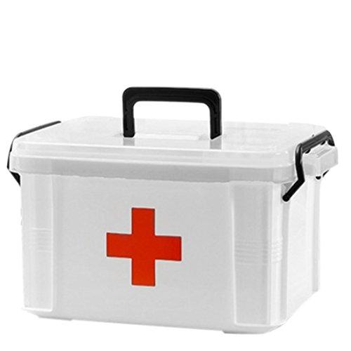 Teckpeak Hausapotheke, 2 Schichten weiß Erste Hilfe Box Medizinbox Aufbewahrungskasten für Medikamente - Größe M