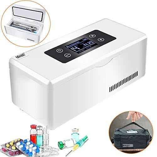 WHR-HARP Mini Kühlschrank, Tragbare Elektrische Kühlbox für Auto, Insulin-Kühlbox 2-8 ℃ mit Kühlraum: 225 * 103 * 95 mm für Auto/Reise/Heim - Mehrere Lademodi,Withoutbattery