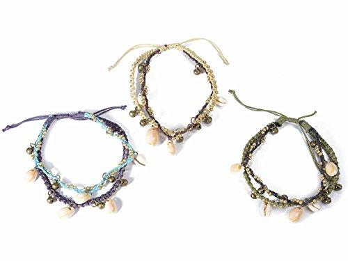Ideapiu 6 Cavigliera in Corda di Cotone c/Conchiglie e Perline Dorate