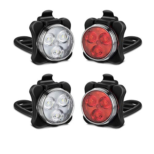Akale Rechargeable Bike Light Set, LED Bicycle Lights Front and Rear, 4 Light Mode Options, 650mah Lithium Battery, Bike Headlight, IPX4 Waterproof, Easy to Install for Men Women Road 2 Pack