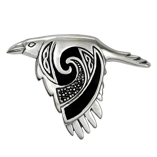 Moonlight Mysteries Large Sterling Silver Flying Celtic Raven Pendant with Black Enamel Finish