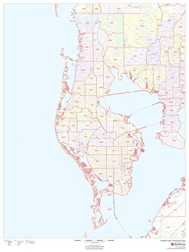 "Pinellas County, Florida Zip Codes - 36"" x 48"" Matte Plastic Wall Map"