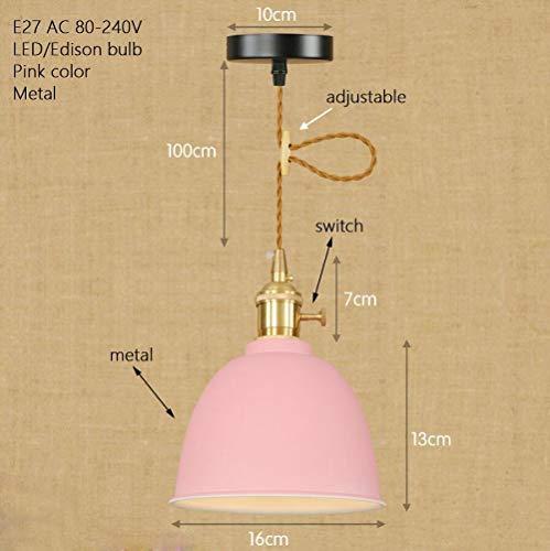 Plafondlamp, de moderne Noordse hanglamp van zolder past de E27-kabel hanglamp van ijzer vintage hanglamp met schakelaar voor keuken, nachtkastje, woonkamer