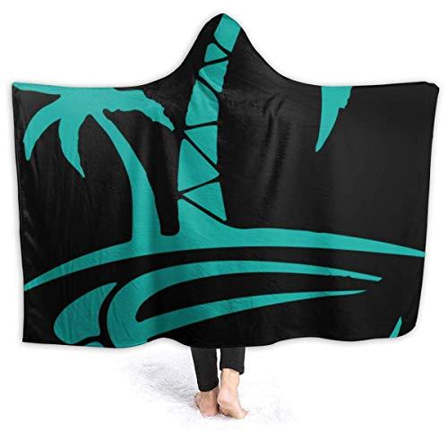 GOSMAO Manta de Franela Tela de Cepillo Extra Suave Súper cálida Mantas para sofás acogedora y Ligera Palmera Hawaiana y Tortuga Marina 50'x40',W127cm X L102cm