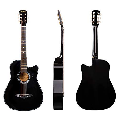 JUAREZ JRZ38CTR/BK 38 Inch Acoustic Guitar with Dual Action Truss Rod, Bag,...