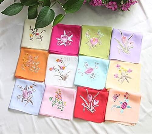 SushiSwap Embroidery Handkerchiefs Square Pocket Hanky Floral Silk Handkerchief Women Portable Towels 26cm Zakdoeken Fazzoletto - 733697