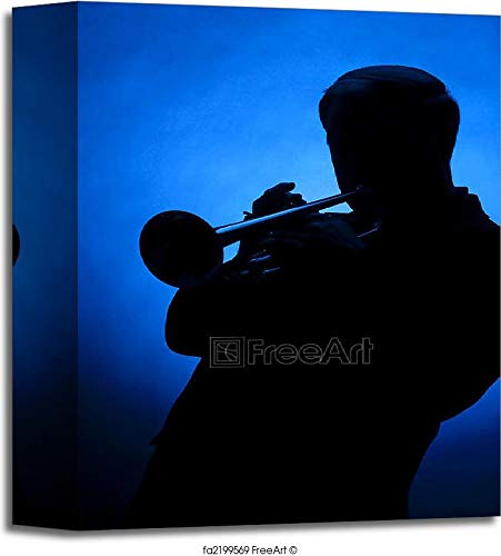Trumpet Player Silhouette Against Blue Spot Light Gallery Wrapped Canvas Art (10in. x 8in.)